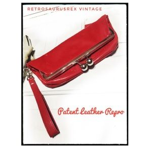 Rockabilly Cherry Red Patent Leather Wrist Clutch